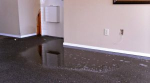 hallway with damages due to flooding